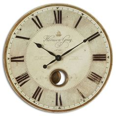 Add a classic touch to any room with the Harrison weathered wall clock. The brass center components contribute a vintage look, helping this gray wall clock coordinate with a wide variety of decor styl