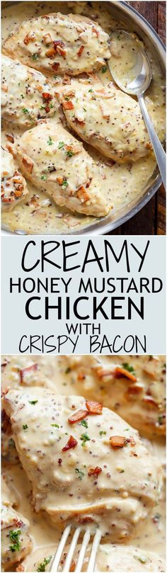 Creamy Honey Mustard Chicken With Crispy Bacon A deliciously Creamy Honey Mustard Chicken with crispy bacon pieces will become your new favourite dinner — WITH dairy free options! Sweet and creamy ho