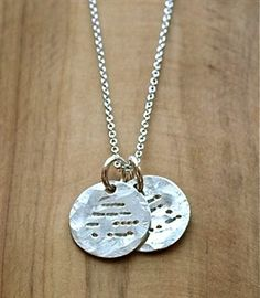 """A unique gift for mothers with a hidden message. This Morse code necklace reveals """"My Mother in morse code on one disc and """"My Friend"""" on the other disc. Silver Charms, Sterling Silver Necklaces, Silver Jewelry, Diy Necklace, Washer Necklace, Morse Code Tattoo, Morse Code Words, Special Gifts For Mom, Friend Bracelets"""