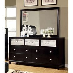Furniture Of America Valdez Contemporary Mirrored Panel 8 Drawer Dresser Mirror Set In Black Pinterest Panels And