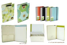 Greenroom padfolios (I own one in the style of the left - with a black-and-white floral pattern - and the size of the right.)