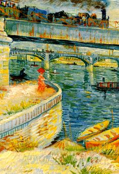 Bridges across the Seine at Asnieres, 1887, Vincent van Gogh. iOS 7 ready.
