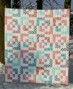 saidos red and aqua bento quilt