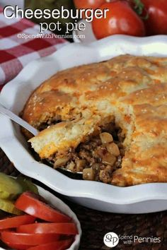 This cheeseburger pot pie recipe is loaded with ground beef and cheese, all topped with an easy to prepare Bisquick topping! #spendwithpennies #cheeseburgerpotpie #potpie #easydinnerrecipe #dinner