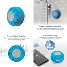 Portable Wireless Bluetooth Shower Speaker Build-In Microphone Stereo Sound