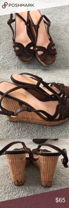 Prada brown wedges Brown wedges. Worn, but in good condition. Very comfortable. Prada Shoes Wedges