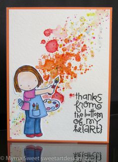The weekly challenge at AAA Cards is Create! I immediately thought of my cute stamps and dies from MFT – Pure Innocence You Colour my World. The sentiment on the second card is from Paper Smooches – I Heart Art, and the splatters are from Stampin Up – Grunge. I used Copics and distress inks