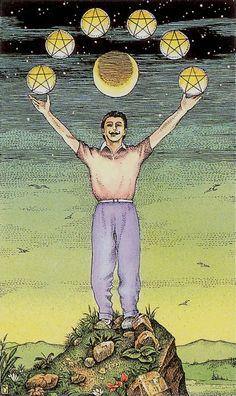 Six of Coins - Cosmic Tarot by Norbert Losche