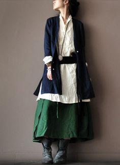 loose linen  Coat dark blue  Coat Long Sleeve by clothingshow, $69.00