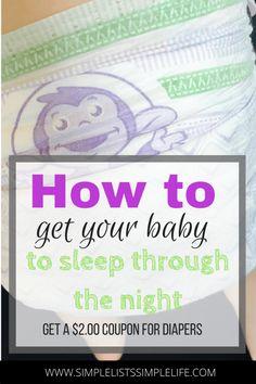 Tips how to get baby to sleep through the night. 8 Simple hacks to encourage babies to sleep so you can get some sleep too! Products to help baby sleep, sleep training