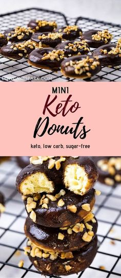 Bite-Size Keto Low Carb Chocolate Glazed Donuts These super easy keto donuts are made with coconut and almond flour. They're perfect for a quick breakfast or snack because they are completely sugar-free. receive via via Low Carb Desserts, Easy Desserts, Low Carb Recipes, Protein Recipes, Easy Recipes, Vegan Keto, Vegetarian Keto, Vegetarian Cabbage, Vegetarian Appetizers