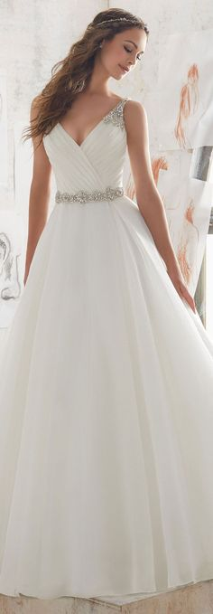 Found at Bridal Isle-Loomis, Shop Morilee's Marlowe Wedding Dress. 2017 Designer Wedding Dresses and Bridal Gowns by Morilee. This Organza Wedding Ballgown Combines a Traditional A- Line Silhouette with Modern Details. Spring 2017 Wedding Dresses, Bridal Wedding Dresses, White Wedding Dresses, Bridesmaid Dresses, Bridesmaids Hairstyles, Wedding White, 2017 Bridal, Mori Lee Wedding Dress, Wedding Dresses With Straps