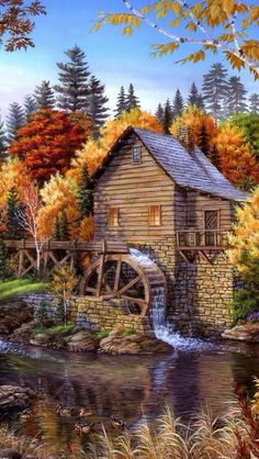 typical water wheel so indicative of older days but beautiful scenery remains the same. Pictures To Paint, Nature Pictures, Art Pictures, Photos, Beautiful Paintings, Beautiful Landscapes, Landscape Art, Landscape Paintings, Kinkade Paintings