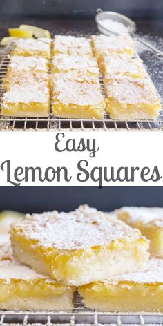 Easy Lemon Squares, these tangy squares are quick, easy and so delicious, made with a buttery shortbread crust and a fresh lemon filling. Easy and tasty bars. desserts for potluck Easy Fresh Lemon Squares - Quick & Easy Tangy Lemon Bars Lemon Dessert Recipes, Köstliche Desserts, Easy Lemon Desserts, Easy Delicious Desserts, Easy Simple Desserts Quick, Quick Easy Desert, Easy Dessers, Easy Healthy Deserts, Recipes With Lemon