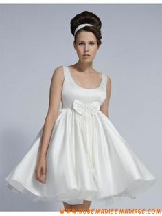 robe de marie courte taffetas agrmente de noeud taille - Morelle Mariage Valenciennes