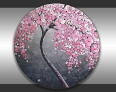 """ORIGINAL Fine Art Heavy Textured Pink Flowers Tree Painting Modern Black and White Landscape Home Decor 20"""" Abstract Palette Knife Artwork"""