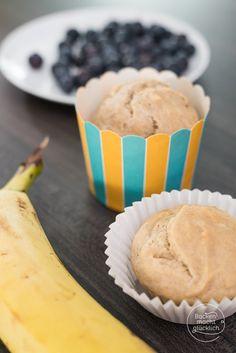 Zuckerfreie gesunde Muffins; Bananenmuffins ohne Zucker und mit wenig Fett, vegane Muffins