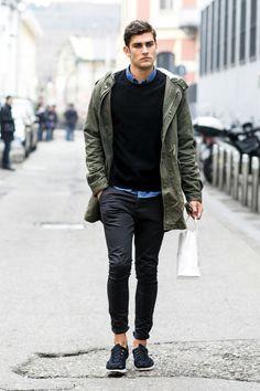 S olive parka, black crew-neck sweater, blue denim shirt, black ch Milan Men's Fashion Week, Mens Fashion Week, Fashion Moda, Mens Fashion Suits, Male Fashion, Street Fashion, Fashion Outfits, Fashion Fashion, Fashion Ideas