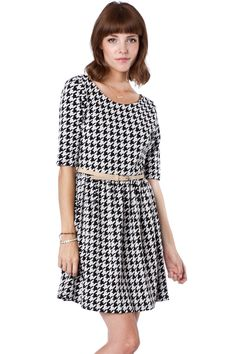 "ShopSosie Style  - called the ""Langdon Houndstooth Flare Dress"" - HA, what are the odds??"