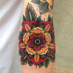 Traditional tattoo. Flower. Pattern.
