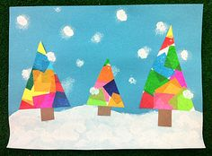 Christmas tree craft How I'd do it: Draw triangles on white paper, glue tissue paper to paper. Paint snowy ground on blue paper. Let both dry. Cut out trees, older kids can cut out themselves. Glue trees and pre-cut trunks to snow. Use end of pencil in white paint for snowflakes or cotton ball in paint pad.