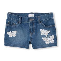 Girls Crochet Butterfly Woven Denim Shorts - The Children's Place