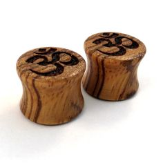 "Om Symbol Zebrawood Wooden Plugs 0g (8mm) up to 1 3/4"" (44mm) includ 00g (9mm) (10mm) 7/16"" (11mm) 1/2"" (13mm) 9/16"" (14mm) Wood Ear Gauges"