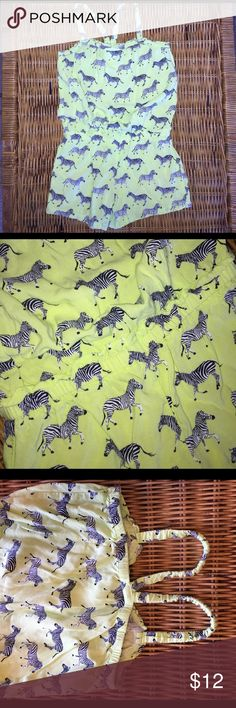 👭Neon Zebra Romper Perfect for a hot zoo day! Muted neon green with black and white zebras! Cinched elastic waist. Elastic Racerback straps for varied fit! EUC Cherokee One Pieces