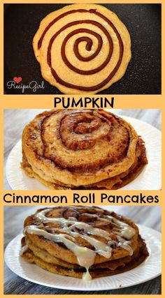 Pumpkin Cinnamon Roll Pancakes - #recipe - RecipeGirl.com