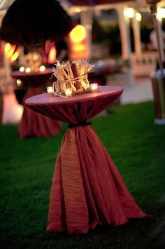 Gold/Bronze tablecloths with dried maize bushel and four tea lights-- I love this look and color! Cocktail Wedding Reception, Wedding Table, Champagne Party, Wedding Receptions, Fall Wedding, Wedding Decor, Cocktail Table Decor, Cocktail Tables, Cocktail Parties