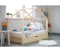 Wooden House Bed With Drawer Toddler Size House Beds For Kids, Toddler House Bed, Toddler Rooms, Beds Uk, New Beds, Nursery Furniture, Home Furniture, Bed Frames Uk, Toddler Bed With Storage