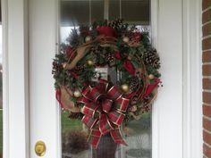 Plaid Wreath Christmas Wreath Holiday Wreath by KathysWreathShop
