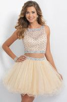 Wholesale Two Pieces Homecoming Dresses Short Prom Dresses Champagne Beaded Sweet Dresses Sheer Beach Wedding Party Dresses