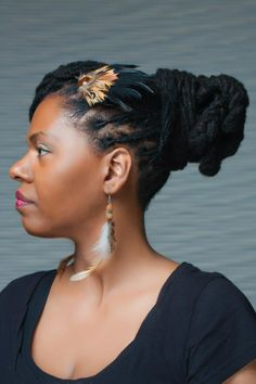 Locs w/ cute accessories #Naturalhair. To learn how to grow your hair longer click here - http://blackhair.cc/1jSY2ux