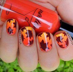 Fall nails - orange and yellow leaf @Shoebuy.com.com.com.com #ShoebuyFallFashion