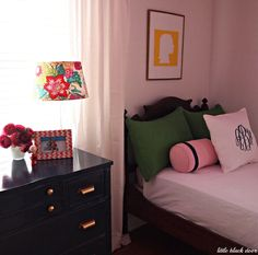 girls bedroom. green and blue. pink and blue.