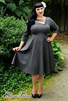Shelly Dress - Charcoal Houndstooth