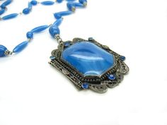 Art Deco Czech Necklace. Long Blue Satin Glass by bohemiantrading