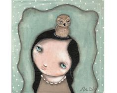whimsical painting folk art owl painting mixed by thesecrethermit, $25.00