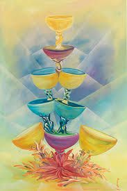 The nine of cups represents contentment and overall satisfaction with what has been achieved. We find ourselves surrounded by our fulfilled wishes. Enjoy this time in your life. Petra, Nine Of Cups, Tiered Cakes, Tarot Cards, Contentment, Painting, Art, Life, Horseback Riding