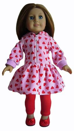"""For 18"""" American Girl ; 3 Piece Valentine's Day Outfit Doll Clothes #DollClothesSewBeautiful"""