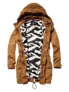 Parka with printed tribal lining...because what's on the inside is as important as the outside.