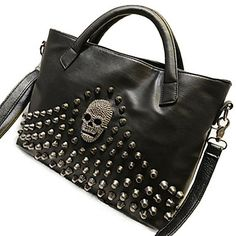 Women's Euramerican Fashion Punk Crossbody Bag With Skull And Rivets – USD $ 37.79