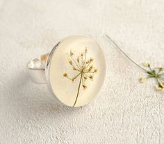 Pressed Flower Resin Ring - Queen Anne Lace - Handmade resin jewelry. $20.00, via Etsy.