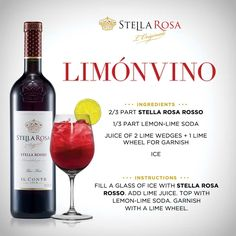 Stella Rosa original recipe: Stella Rosa Limonvino, with Stella Rosa Rosso. For more of our signature specialties, visit http://stellarosawines.com/