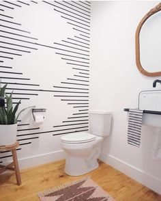 In love with this bathroom design! That washi tape wall looks like one of my favorite rug patterns! Wc Decoration, Diy Wall Decorations, Cheap Wall Decor, Wedding Decoration, Bathroom Inspiration, Home Remodeling, Diy Home Decor, Rug Patterns, Wall Paint Patterns