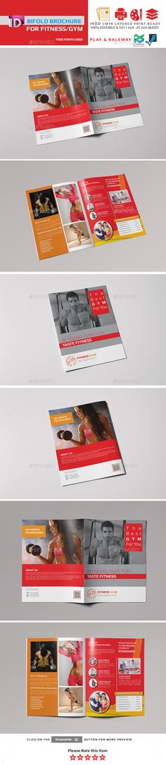 Fitness Gym Bifold  Halffold Brochure  Brochures Gym And Font Logo