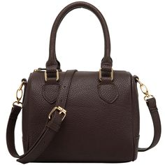"""FASH Charming Bowling Handbag Style Barrel Office Purse Shoulder Handbag,Brown,One Size. Duffle Style Handbag with Pebbled Man-Made Leather on the Exterior. Dual-Top Handles and a Detachable Shoulder Strap, which can be adjusted as per your convenience. Fabulous Fabric Lining on the interior which comprises of one zippered and 2 open pocket organizers. Silver-Tone Hardware. Approximate Dimensions: Exterior - 15.5"""" L X 14.2"""" W X 5.7"""" H; Handle Drop: 5.1""""; Shoulder Drop: 23.5""""."""