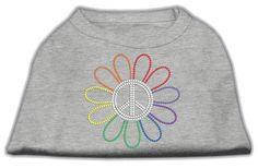 Rhinestone Rainbow Flower Peace Sign Shirts Grey S (10)