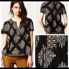 Akemi & Kin Romy Midi Top EUC black, diamond pattern top. Fits square and boxy, very flattering! Missing three beads but not noticeable in my opinion. Anthropologie Tops